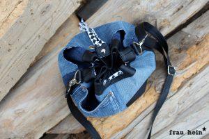 frau hein: Jeans Patchwork Bucketbag Amabel (Schnittmuster: LaLilly Herzileien)