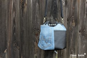 frau hein: Jeans Patchwork Bucketbag Amabel (Schnittmuster: LaLilly Herzileien)